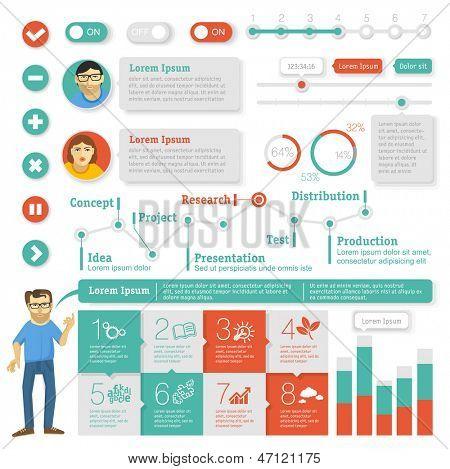 Flat interface design element set. Vector infographic template. poster