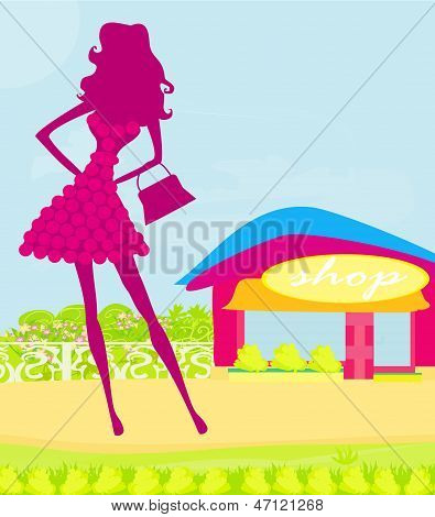 Abstract Silhouettes Fashion Girl Shopping