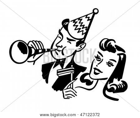 New Year's Party Couple - Retro Clip Art Illustration