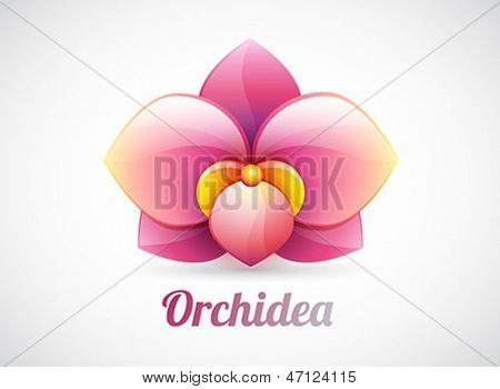 vector orchid flower icon