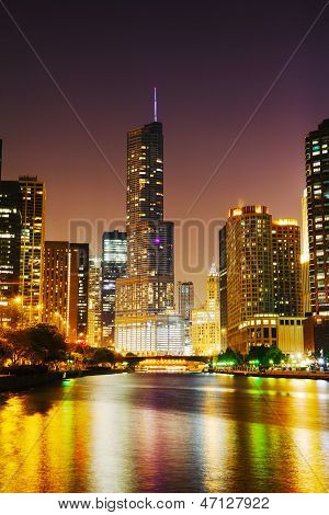 Trump International Hotel And Tower In Chicago, Il In The Night