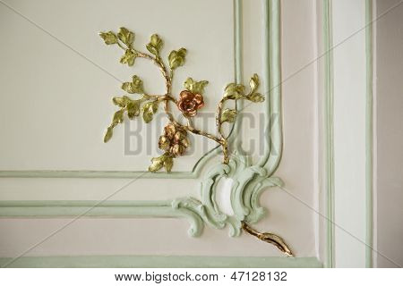 Antique fretwork ornament on palace wall
