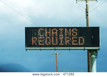 Warning Chains Required Sign