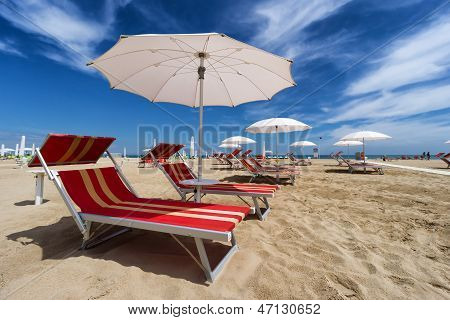 Rimini And Riccione Beach. Emilia Romagna, Italy