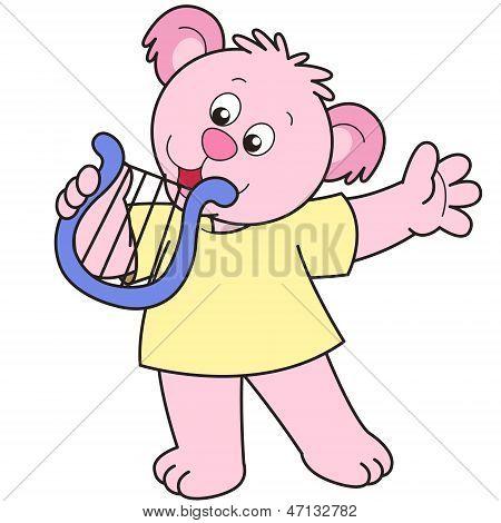 Cartoon Bear Playing A Harp