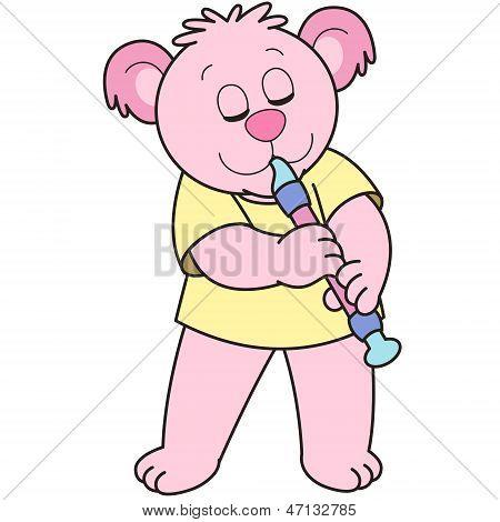 Cartoon Bear Playing An Oboe
