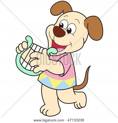 Cartoon Dog Playing A Harp