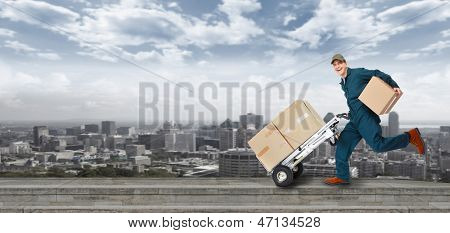 Running Delivery postman. Shipping and transportation service.