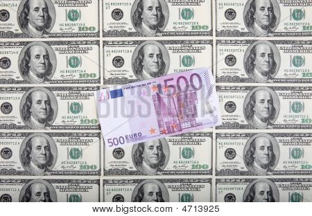 500 Euro Are On A Background From Dollars