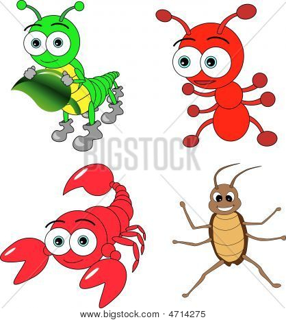 Cute Insects Set consists of scorpion caterpillar ant and cockroach poster