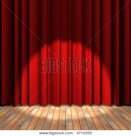 Red Curtain Stage With A Spot Light