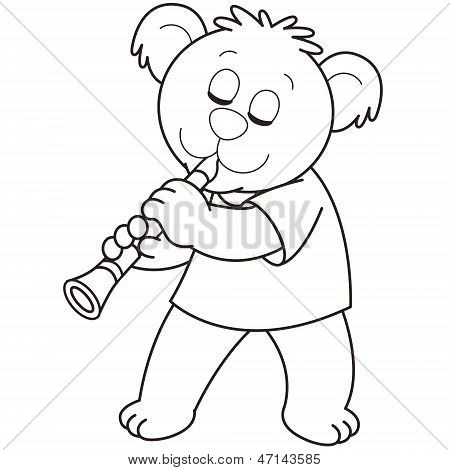 Cartoon Bear Playing A Clarinet