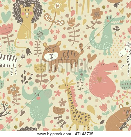 Cute floral seamless pattern with wild animals from Africa. Koala, lion, crocodile, hippo, giraffe, tiger, zebra. Vector retro background.