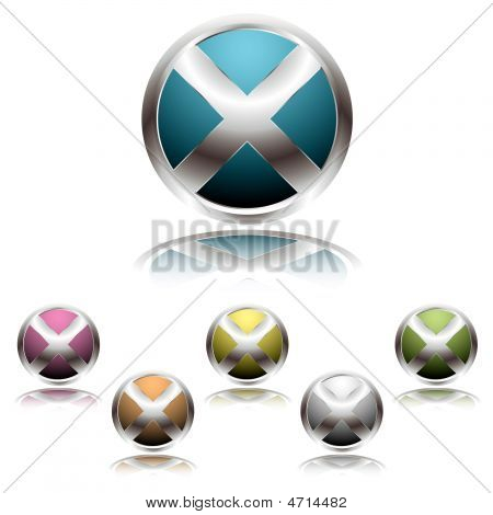 metallic cross icon button with reflected shadow in colour variations poster