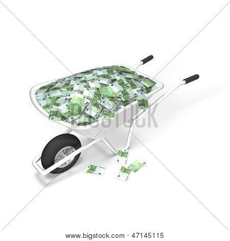Euro Money Wheelbarrow, investing concept
