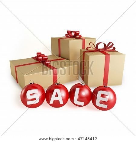 Christmas sale with gifts and balls