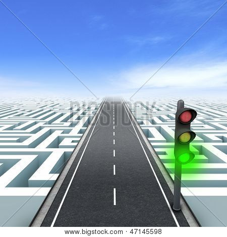 Leadership and business vision with strategy in corporate challenges. Green traffic light.