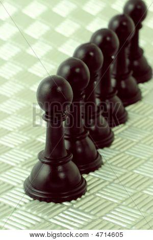Row Of Black Pawns