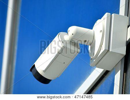 Surveillance camera outdoors