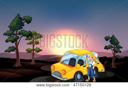 Illustration of a yellow car with a flat tire