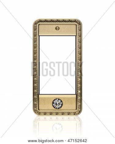 Golden phone with blank touch screen and diamond button