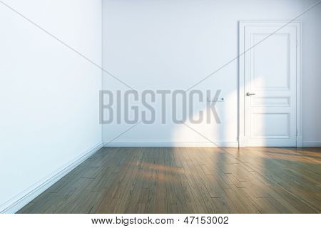 white room with wooden parquet and white door