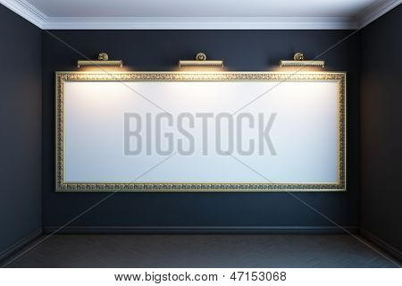gallery interior with golden frame and lighters(black version)