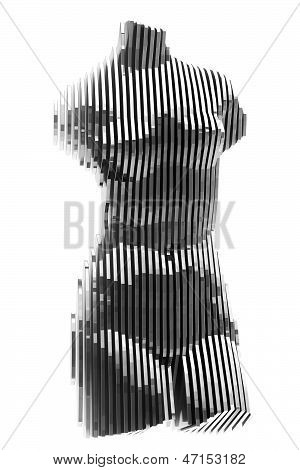 chrome layered statue isolated on white