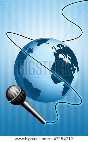 an illustration of earth for news with microphone poster