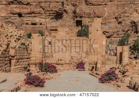 The Hadrien Gate roman avenue in nabatean petra jordan middle east poster