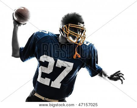 one caucasian quarterback american throwing football player man in silhouette studio isolated on white background