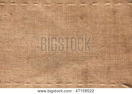 The Two Horizontal Stitching On The Burlap