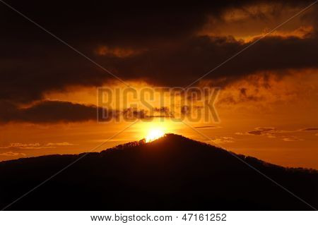 Brilliant Sunrise On Mountain Top