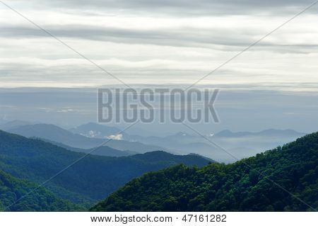 Overcast Sky Above Blue Ridge Mountains