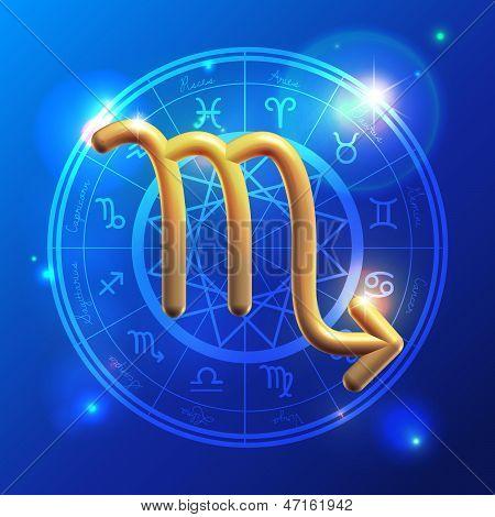 Zodiac Scorpio Golden Sign