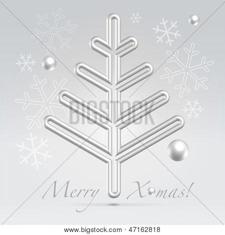 Christmas Fur Tree Minimalistic Postcard
