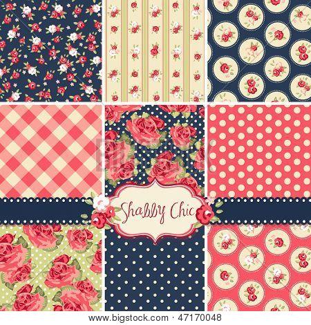 Shabby Chic Rose-Muster und nahtlose Hintergründe. Ideal für das Drucken auf Stoff und Papier oder scra