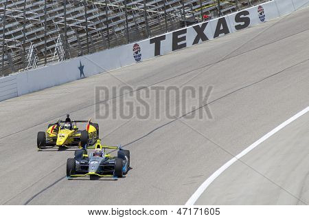 Fort Worth, TX - Jun 07, 2013:  Josef Newgarden (67) and Graham Rahal (15) take to the track for the Firestone 550 race at the Texas Motor Speedway in Fort Worth, TX on June 07, 2013.