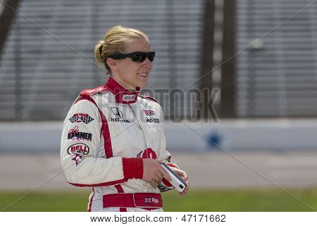 Fort Worth, TX - Jun 07, 2013:  Pippa Mann (18) takes to the track for a practice session for the Firestone 550 race at the Texas Motor Speedway in Fort Worth, TX on June 07, 2013.