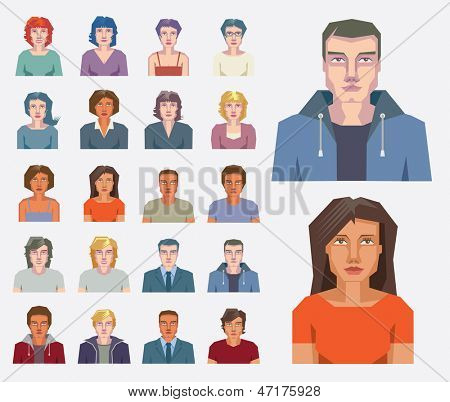 Set of vector portraits and faces of men and women for avatar icons.