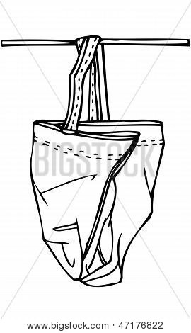 Isolated Vector Sketch of a Hanging Bag
