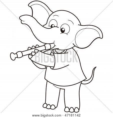 Cartoon Elephant Playing An Oboe