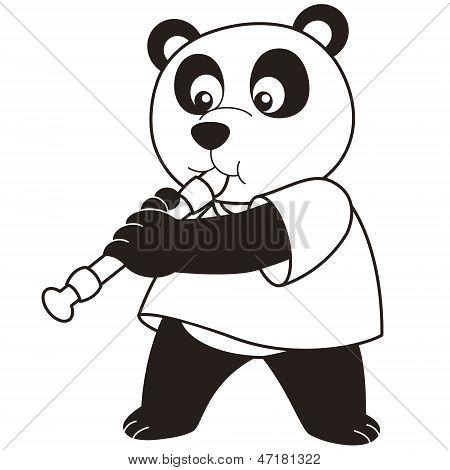 Cartoon Panda Playing An Oboe