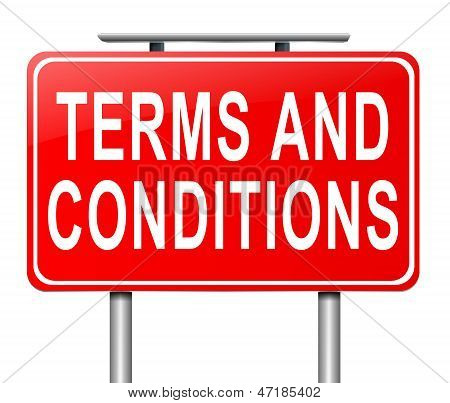 Illustration depicting a sign with a terms and conditions concept. poster
