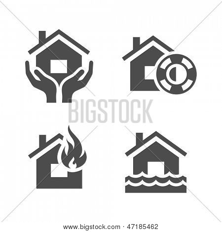 Property insurance icons. Simplus series