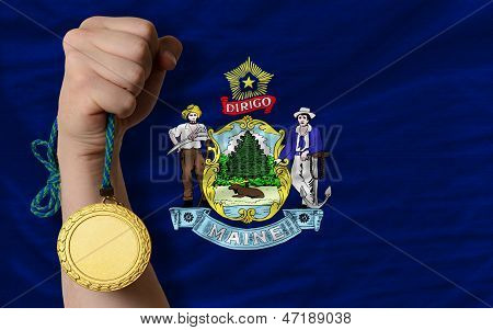 Gold Medal For Sport And  Flag Of American State Of Maine