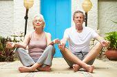 Senior Couple Meditating Outdoors At Health Spa poster
