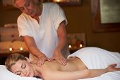 Woman Having Massage In Spa poster