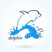 dolphin sea sketch color simple element emblem poster