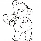 Cartoon Bear playing a trumpet.black and white poster